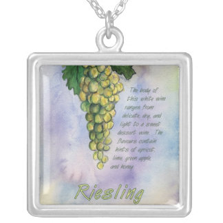 Riesling Wine Grapes Silver Necklace