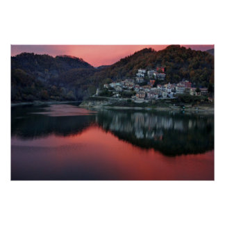Rieti Italy Waterfront View at Night in Lazio Poster