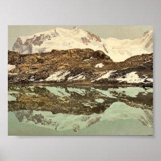 Riffel Lake and Monte Rosa, Valais, Alps of, Switz Poster