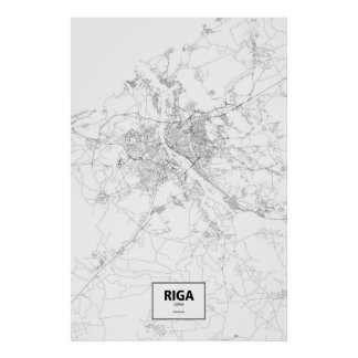 Riga, Latvia (black on white) Poster
