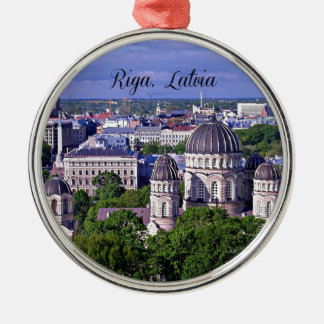 Riga, Latvia cityscape Christmas Ornament