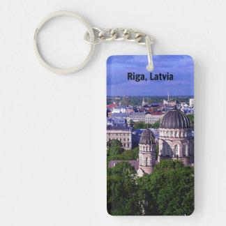 Riga, Latvia cityscape Single-Sided Rectangular Acrylic Key Ring