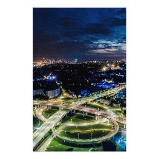 Riga Night Skyline Stationery