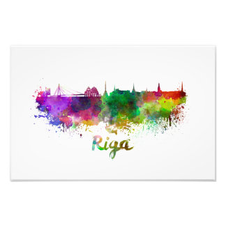 Riga skyline in watercolor photo art