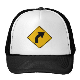 Right Curve, Traffic Warning Sign, USA Hats