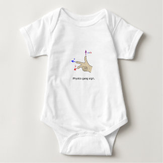 Right hand rule cross product Physics gang sign Baby Bodysuit