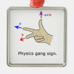 Right hand rule cross product Physics gang sign Ornament