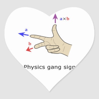 Right hand rule cross product Physics gang sign Heart Sticker