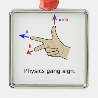 Right hand rule cross product Physics gang sign Silver-Colored Square Decoration