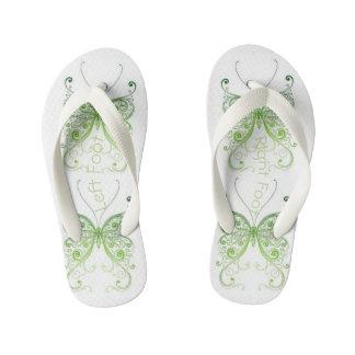 Right & Left Green Lace Butterfly. Kid's Flip Flops