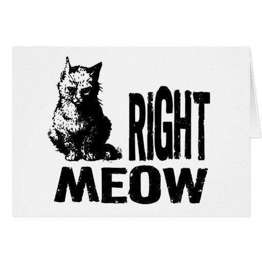 Right MEOW! Funny Evil Kitty Greeting Card