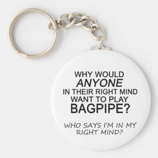 Right Mind Bagpipe Basic Round Button Key Ring