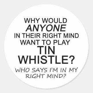Right Mind Tin Whistle Round Sticker