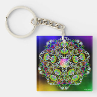 Right Now/Messages in Light Double-Sided Square Acrylic Key Ring