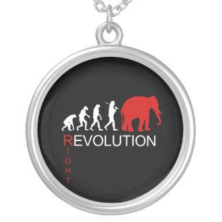 RIGHT REVOLUTION (white) Round Pendant Necklace