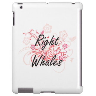 Right Whales with flowers background iPad Case