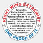 Right Wing Extremist Round Sticker