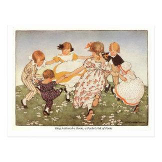 Ring A-Round a Rosie Nursery Rhyme Postcard