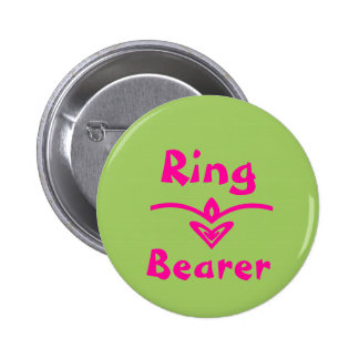 Ring Bearer Button in lime green and pink