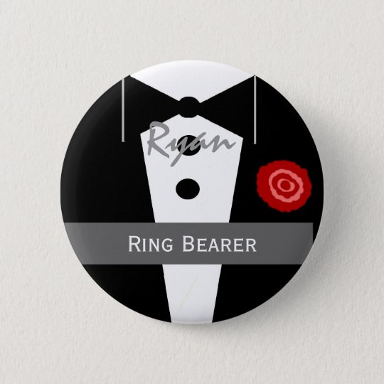 RING BEARER Custom Name Tux Wedding 6 Cm Round Badge