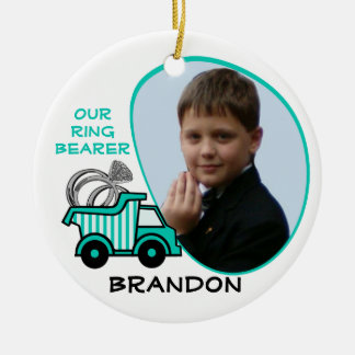 Ring Bearer Dump Truck Photo Christmas Ornament