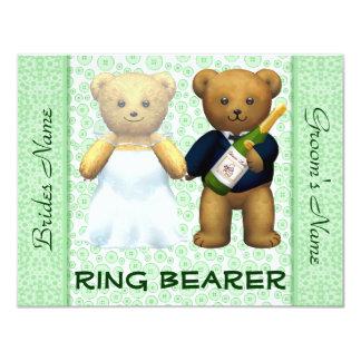 "Ring Bearer Teddy Bears Apple Green Wedding Invite 4.25"" X 5.5"" Invitation Card"