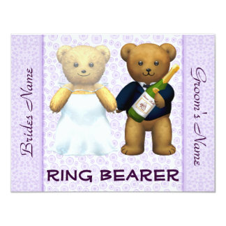 Ring Bearer - Teddy Bears lilac Wedding Invite