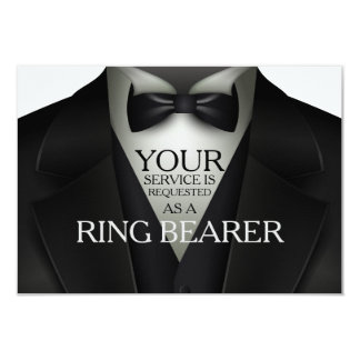 Ring Bearer Tuxedo Wedding Party Request Card