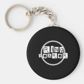 Ring Bearer White on Black Keychain