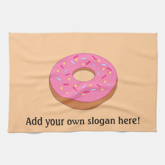 Ring Donut Graphic - Add a Slogan to Customize Tea Towel