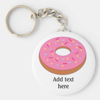 Ring Doughnut with Pink Frosting Customizable Key Ring