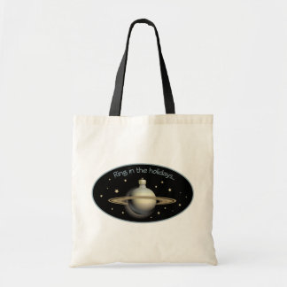 Ring in the holidays Saturn ornament Tote Bags