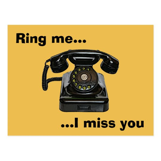 Ring me...I miss you vintage telephone Postcard