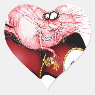 Ring my Bell -funny cat cartoon, tony fernandes Heart Sticker