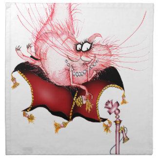 Ring my Bell -funny cat cartoon, tony fernandes Printed Napkins