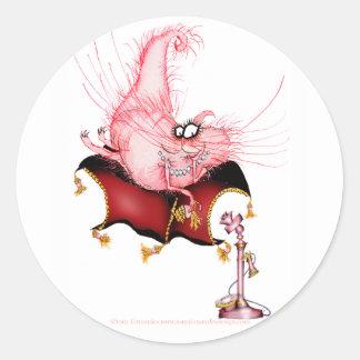 Ring my Bell -funny cat cartoon, tony fernandes Round Sticker