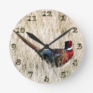 Ring Neck Pheasant in Meadow Clocks
