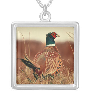 Ring-Necked Pheasant Silver Plated Necklace