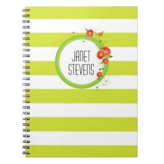 Ring of Poppies Personalized Striped Spiral Notebooks