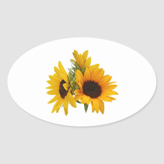 Ring of Sunflowers Oval Stickers