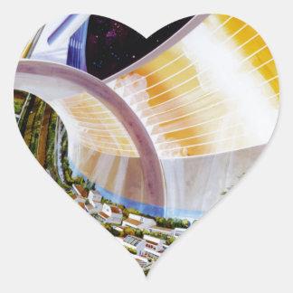Ring Space Station - Future Off-World Habitat Heart Sticker