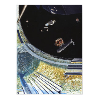 Ring Space Station - Outer Space Construction 14 Cm X 19 Cm Invitation Card