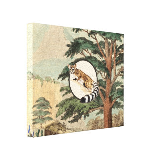 Ring-Tailed Cat In Natural Habitat Illustration Canvas Print
