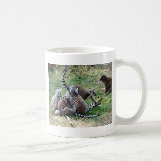 Ring tailed lemur family basic white mug