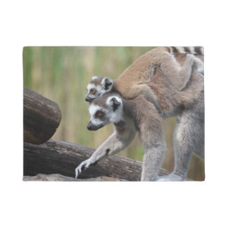 Ring-Tailed Lemur Mother And Baby Doormat