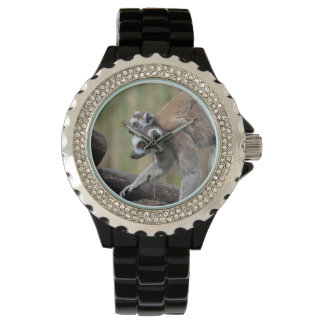 Ring-Tailed Lemur Mother And Baby Wrist Watch