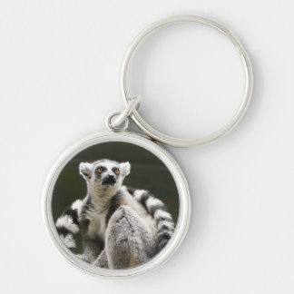 Ring-tailed Lemur Silver-Colored Round Key Ring