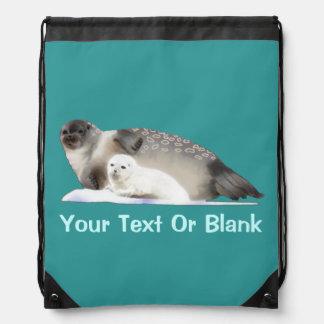 Ringed Seal Drawstring Backpacks