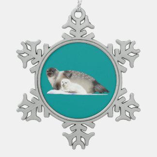 Ringed Seal Pewter Snowflake Decoration