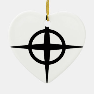 Ringed Star Ceramic Heart Decoration